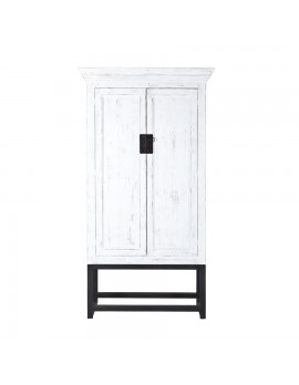Schrank/Kabinet aus massivem Holz mit 2 Türen auf Metallgestell, Höhe 230 cm - weiß