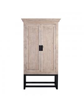 Schrank/Kabinet aus massivem Holz mit 2 Türen auf Metallgestell, Höhe 230 cm