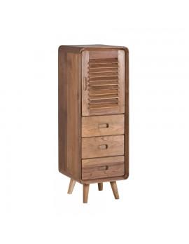Beistellschränkchen/ Kabinet aus massivem Teakholz mit 1 Tür und 3 Schubladen, Höhe 116 cm