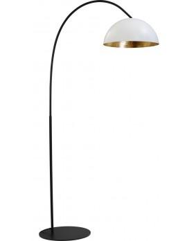 Stehleuchte gold-weiß, Fuß schwarz, Industrielampe/ Retro-style, Schirm-Ø: 40 cm