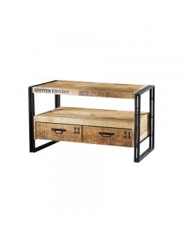 TV-Tisch mit 2 Schubladen aus massiven Akazienholz, Industriestyle, Breite 102 cm