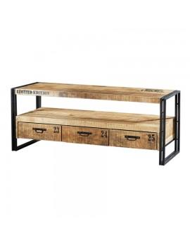 TV-Tisch mit 3 Schubladen aus massiven Akazienholz, Industriestyle, Breite 150 cm