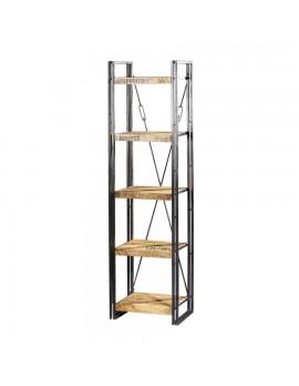 Bücherregal aus massiven Akazienholz, Industriestyle, HöhexBreite 200x55 cm