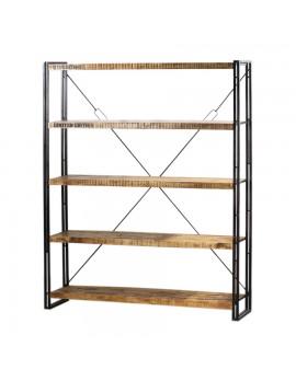 Bücherregal aus massiven Akazienholz, Industriestyle, HöhexBreite 200x160 cm