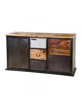 Sideboard rustikal, Industriestyle mit 2 Türen und 3 Schubladen, Breite 150 cm