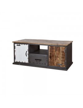 TV-Konsole rustikal, Industriestyle mit 2 Türen und 1 Schublade, Breite 130 cm