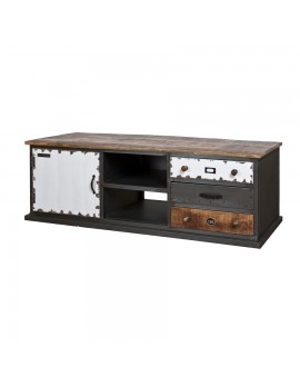 TV-Konsole rustikal, Industriestyle mit 1 Tür und 3 Schubladen, Breite 160 cm