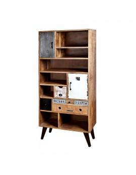Bücherregal mit 2 Türen und 4 Schubladen, rustikal, industriestyle, Höhe 180 cm