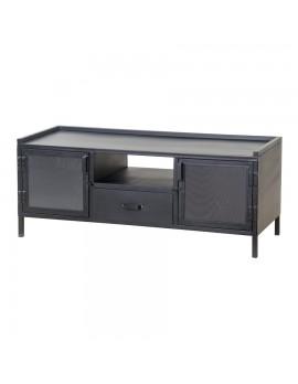 TV-Konsole aus Metall, schwarz, Industriestyle, 2 Türen und 1 Schublade, Breite 130 cm