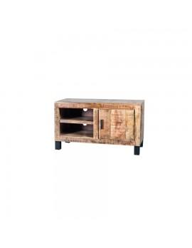 TV-Konsole aus massiven Akazienholz, Industriestyle, 1 Tür, Breite 100 cm