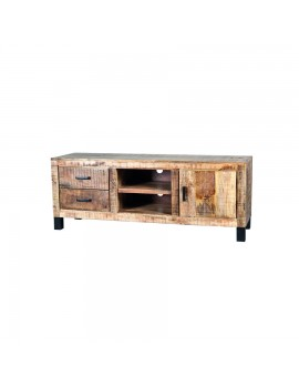 TV-Konsole aus massiven Akazienholz, Industriestyle, 1 Tür und 2 Schubladen, Breite 150 cm