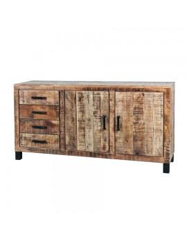 Sideboard aus massiven Akazienholz, Industriestyle, 2 Türen und 4 Schubladen Breite 173 cm