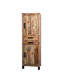 Schrank aus massiven Akazienholz, Industriestyle, 2 Türen und 2 Schubladen Höhe 190 cm