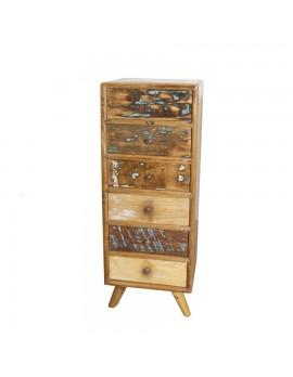 Kommode aus Akazienholz mit 6 Schubladen, Höhe 127 cm