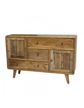 TV-Kommode aus Akazienholz mit 2 Türen und 3 Schubladen, Breite 134 cm
