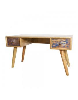 Schreibtisch aus Akazienholz mit 2 Schubladen, Breite 140 cm