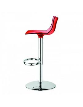 Barstuhl, transparent rot, variabel Sitzhöhe 52-77 cm, chrom
