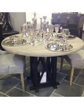 Tisch rund Massivholz,  runder Esstisch Tischfuß schwarz