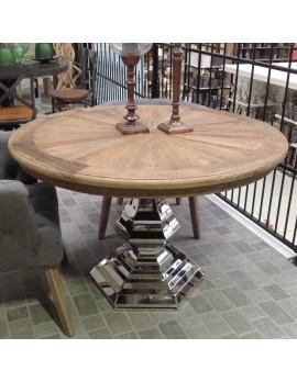 Tisch rund Massivholz,  runder Esstisch Tischfuß verchromt