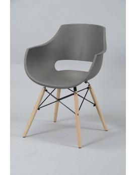 Design Stuhl grau, Stuhl Kunststoff Sitzschale grau