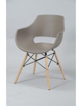 Design Stuhl taupe, Stuhl Kunststoff Sitzschale taupe