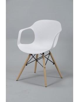 Stuhl weiß Design, Stuhl Kunststoff Holz weiß