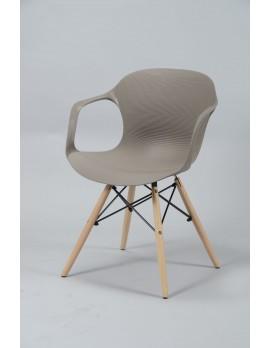Stuhl taupe Design, Stuhl Kunststoff Holz