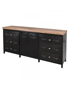 Sideboard aus Metall schwarz, Holzplatte, 6 Schubladen, Breite 200 cm