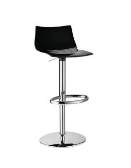 Barstuhl, schwarz, variabel Sitzhöhe 52-77 cm, chrom
