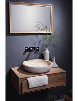 Naturstein-Waschbecken rund beige, Aufsatzwaschbecken rund Naturstein, Durchmesser 40 cm