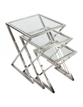 Beistelltische Metall silber, 3er Set Beistelltisch Glas-Metall