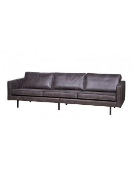 Sofa schwarz, Ledersofa 3-Sitzer schwarz, Sofa Echtleder schwarz