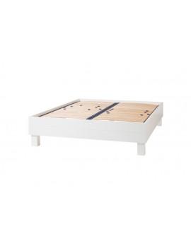 Bett aus Kiefernholz, Doppelbett weiß, Länge 205cm