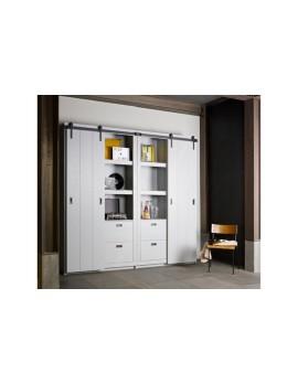 Kleiderschrank grau, Schrank grau Massivholz,  Kinderzimmerschrank grau, Breite 122 cm