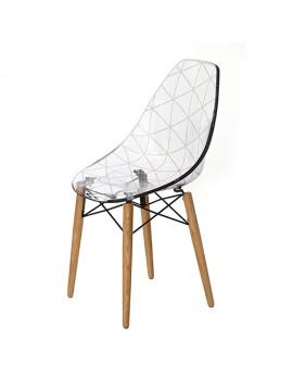 Stuhl transparent, Design-Stuhl Holz-Gestell