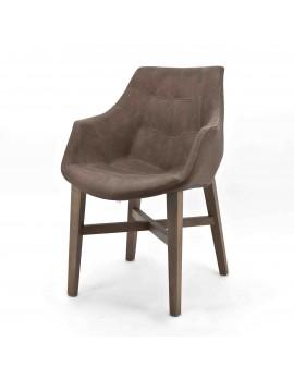 Stuhl mit Armlehne braun, Gastro-Stuhl braun
