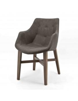 Stuhl mit Armlehne taupe, Gastro-Stuhl taupe