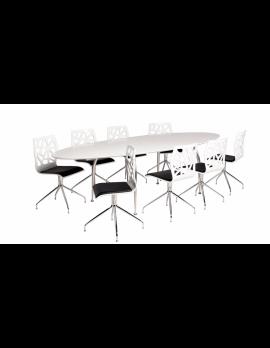 Konferenztisch oval, Tisch oval weiß, ovaler Esstisch, Meetingtisch oval
