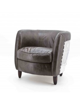 Sessel braun Echtleder-Aluminium, Sessel im Industriedesign