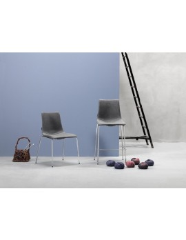 Barstuhl grau, Barstuhl gepolstert grau, Sitzhöhe 80 cm