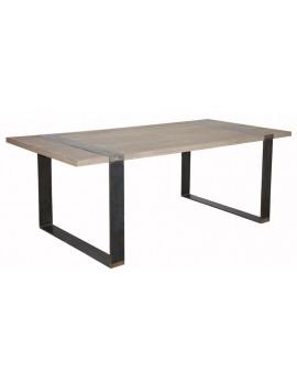 Tisch schwarz Massivholz, Esstisch Metall Holz, Maße 220x100 cm