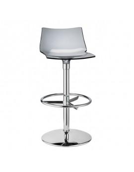 Barstuhl, transparent grau, Sitzhöhe 75 cm, chrom