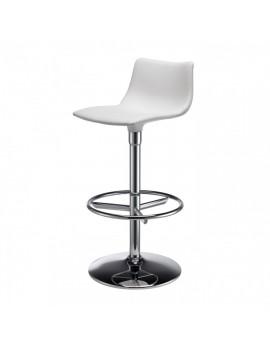 Barstuhl, weiß, variabel Sitzhöhe 76 cm, chrom, Lederoptik