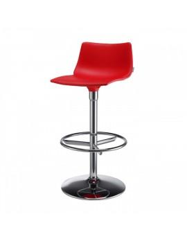 Barstuhl, rot, variabel Sitzhöhe 76 cm, chrom, Lederoptik