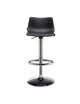 Barstuhl, schwarz, variabel Sitzhöhe 57-79 cm, chrom, Lederoptik