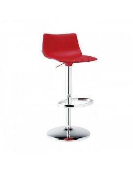 Barstuhl, rot, variabel Sitzhöhe 57-79 cm, chrom, Lederoptik