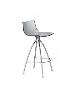 Barstuhl grau transparent, Sitzhöhe 65 cm, Beine verchromt