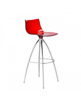 Barstuhl rot transparent, Sitzhöhe 65 cm, Beine verchromt