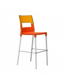 Design Barstuhl, transparent orange, Sitzhöhe 75 cm, Outdoor