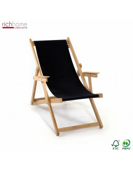Liegestuhl schwarz 100% Baumwolle, Gartenliege schwarz, Strandstuhl schwarz Holzgestell